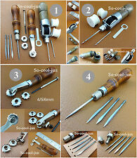 4 Kinds Leather Craft 4in1 Awl Automatic Lock Awl Over Stitching Wheel Tool NEW