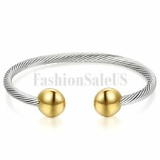 Charm Unisex Stainless Steel Twist Cable Wire Open Ended Bracelet Bangle Cuff
