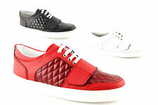 Sneakers low man sports shoes real leather black red white made in ITALY