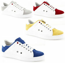 Sneakers low man sports shoes Low bicoloured leather white made in ITALY
