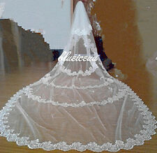 New 2T cathedral  white or ivory LACE/SATIN RIBBON bridal wedding veil with comb
