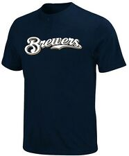 Milwaukee Brewers MLB Boys Majestic 2 Button Crewneck Shirt Navy Youth Sizes