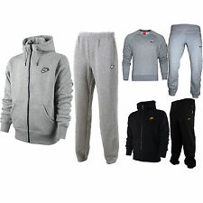 New Mens Nike Full Foundation Grey Tracksuit Round Neck Trousers Pants Bottoms