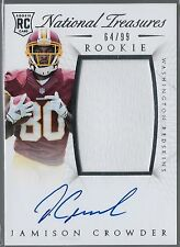 2015 National Treasures Jamison Crowder On Card Auto Jersey Rc Serial # /99