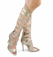 Gold Lace Up Knee High Boot Peep Toe Corset Gladiator Sandals Stiletto Heels