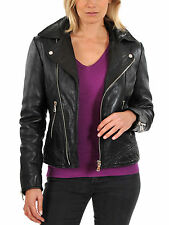Jacket Leather Motorcycle S New Biker Black Coat Lambskin Womens Jackets WJ119