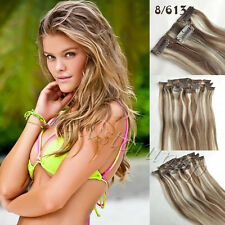 7pcs set Brown Blonde Mixed #8/613 Clip In Full Head Remy Human Hair Extension