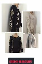 Studded Tracksuits sexy bling Tracksuits new cotton high quality studs grey stud