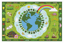 Country Kids Bedroom Area Fun Rug Play Time Go Green, Rainbow, Trees, Animals, E