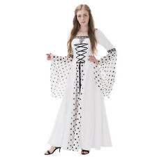 White Hooded Medieval Renaissance Wedding Dress Costume Gown Halloween Costume