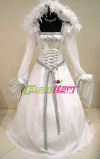 Hooded White Medieval Renaissance Ball Gown Wedding Dress Costume Fancy Dress
