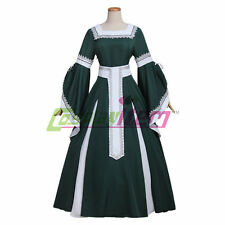 Dark Green Medieval Dress Womens Victorian Renaissance Gothic Dress Costume
