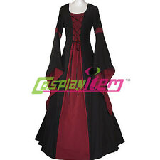 Black and Dark Red Medieval Dress Victorian Renaissance Gothic Dress Costume