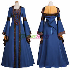Blue And Brown Medieval Dress Womens Victorian Renaissance Gothic Dress Costume