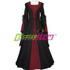 Black and Red Hooded Medieval Dress Victorian Renaissance Gothic Dress Costume