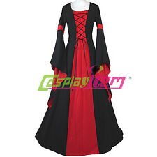 Black and Red Medieval Dress Victorian Renaissance Gothic Dress Costume Custom