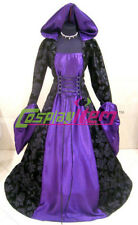 Purple Black Medieval Renaissance Maiden Dress Gown Halloween Carnival Costume