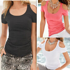 Womens Loose Short Sleeve T Shirt Blouse Ladies Summer Off Shoulder Casual Tops