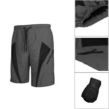 Men's Loose MTB Mountain Bike Bicycle Cycling Baggy Shorts Padded Pants Gray New