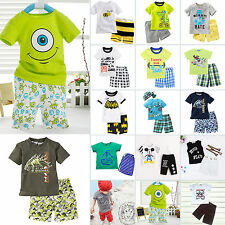 Summer Baby Kids Boy Short Sleeve T-shirts Tops + Shorts Pant Outfit Clothes Set