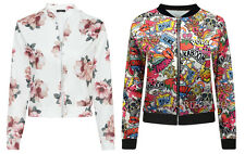 Womens Summer Floral Comic Cartoon Bomber Biker Jacket Vintage Girls Cheap Top
