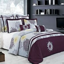 7pc Fifi Embroidered Purple Duvet Cover Bedding Set AND Pillows - ALL SIZES