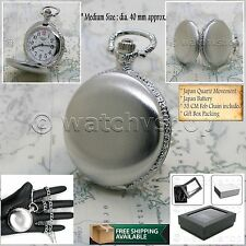 SILVER Antique Style Mens Fashion Quartz Pocket Watch on Chain and Gift Box P235