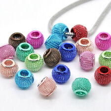 Charm European Beads Mesh Spacer Fit Bracelet Snake Chain Jewelry Making 12x10mm