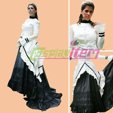 White Black Civil War Dress Uniform Adult Southern Belle Ball Gown Dress Costume