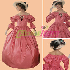 Red 1860s Civil War Victorian Southern Belle Ball Gown Dress Halloween Costume