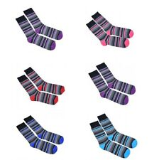 Mens Ankle Striped Socks 3 6 or 12 Pairs UK 6-11 EU 39-45 Assorted Colours Lot