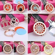 2017 Crystal Oil Aromatherapy Diffuser Locket Pendant Necklace Women Long Chain