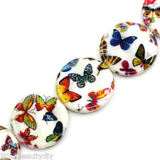 Wholesale Shell Loose Beads Butterfly Pattern Round Multicolor 23mm-25mm