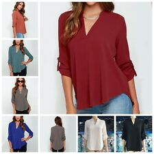 New Women Cotton Blend Casual Long Sleeve V Neck Loose Tops Tee Multiple Colour