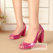 Fashion Leather Hollow Heels Pumps Girls Open Womens Ladies Decorate Shoes