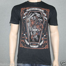 Affliction WHITECHAPEL  A10434 Mens T-shirt Tee Black Lava Wash