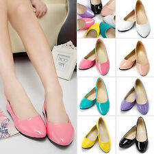 New Women Ballet Ballerina Slippers Pumps PU Leather Slip On Shoes Flats Loafers