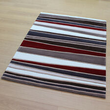 Stripes Rugs Brown Red Multi Colour BNEW Modern Medium Large
