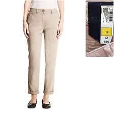 M&S size 8 16 Chinos Cotton Stretch Tapered Leg Casual Trousers Beige New £28