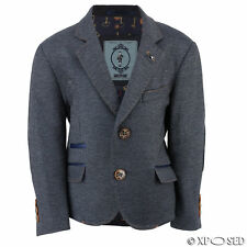 Boys Kids Blue Stretch Blazer Smart Casual Vintage Designer Elbow Patch Jacket