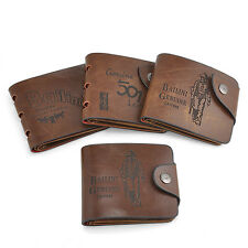 Luxury Mens Brown Genuine Leather Bifold Wallet Credit/ID Card Holder Coin Purse