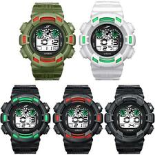Mens Boys LED Digital Sports Watch Alarm Date Waterproof Army Rubber Wrist Watch