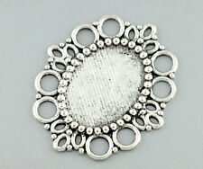 Wholesale Silver Tone Oval Frame Beads Settings 43x37mm
