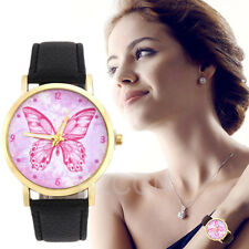 Fashion Women Ladies Watch Analog Butterfly Pattern Leather Quartz Wrist Watches