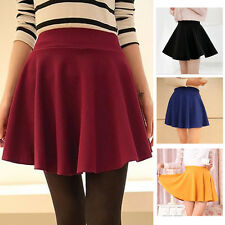 Women Trendy Solid Color High Waist Chiffon Pleated A-line Short Mini Skirts Hot