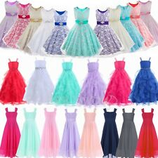 Lace Flower Girls Princess Pageant Party Wedding Chiffon Dress Toddler Birthday