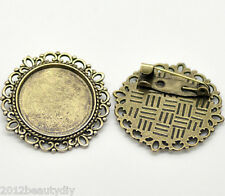 Wholesale Bronze Tone Round Cameo Frame Setting Brooches 32mm(Fit 20.5mm)