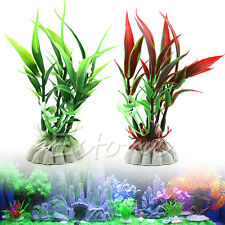 Fish Tank Aquarium Plastic Bamboo Leaf Artificial Water Plant Decor Ornament