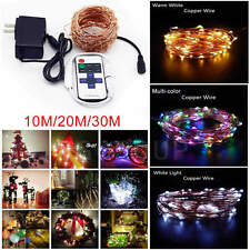 10/20/30M 100-300LED Copper Wire String Fairy Light Xmas Waterproof+Remote+Power