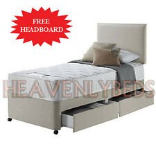 Single Divan Bed With Drawers Options Comes with Mattress and Headboard Set
